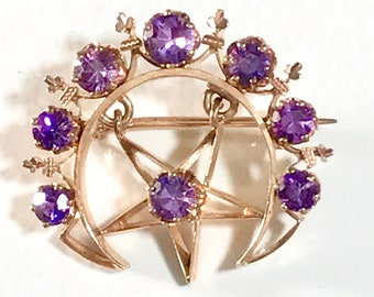 Yellow Gold Amethyst Moon and Star Brooch, Crescent Brooch with Star, Amethyst Brooch, Antique Moon and Star Brooch