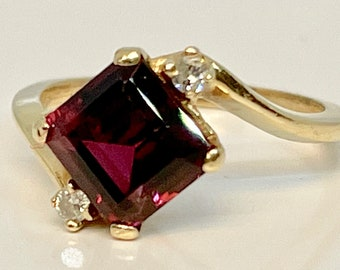 Vintage Garnet and Diamond Ring, Garnet Bypass Ring, Garnet and Diamond Ring, January Birthstone Ring