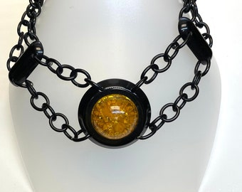 Faux Amber and Black Plastic Necklace, Vintage Faux Amber Necklace, Black Plastic necklace, Vintage Necklace