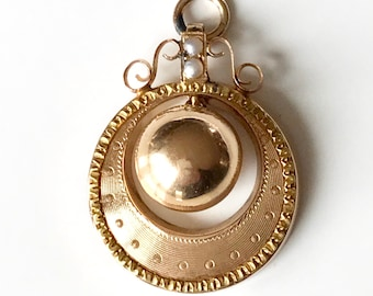 Yellow Gold Engraved Antique Pendant with Seed Pearls, Antique Pendant, Engraved Antique Pendant