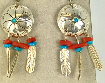 Vintage Sterling Silver Turquoise and Coral, Sterling Earrings, Turquoise and Coral Drop and Dangle Earrings, Southwestern Sterling Earrings