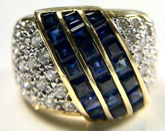 Vintage Wide Blue Sapphire and Diamond Band Ring
