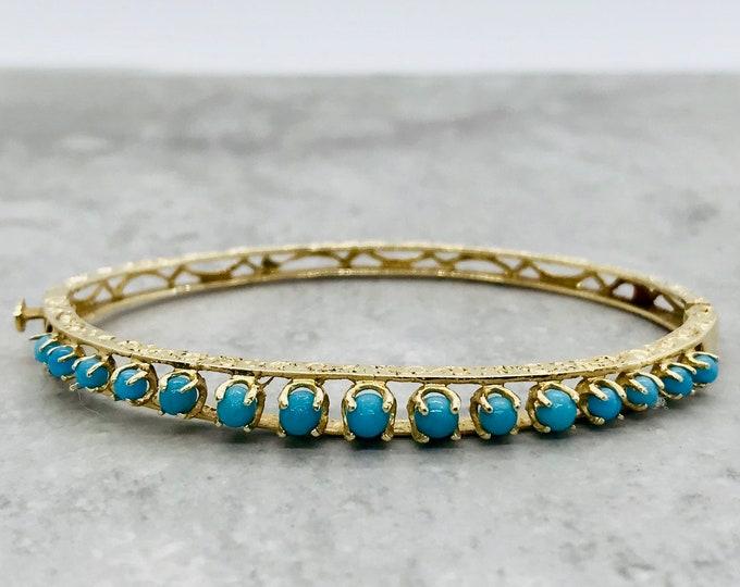 Yellow Gold Turquoise Bangle Bracelet, Vintage Turquoise Bangle Bracelet, Turquoise Bracelet, December Birthstone