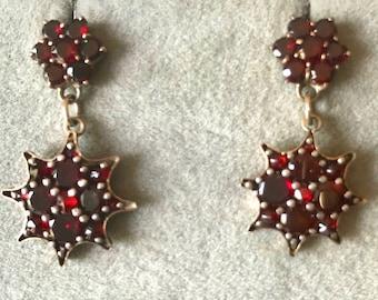 Antique Garnet Drop Earrings, Garnet Dangle Earrings, Vintage Pierced Garnet Earrings, Vintage Garnet Earrings
