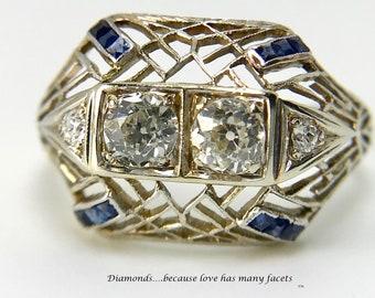 Ladies Platinum Diamond and Filigree Ring; Diamond Filigree Ring, Antique Filigree Ring