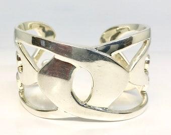Heavy Vintage Sterling Silver Cuff Bracelet, Free Flow Design Cuff Bracelet, Sterling Mexican Cuff Bracelet