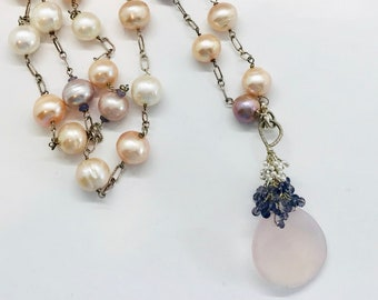 Sterling Silver Fresh Water Pearl Necklace, Rose Quartz Necklace, Amethyst Necklace, Vintage Necklace, Long Necklace