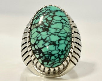Large Vintage Silver Turquoise Ring, Turquoise Ring with Fluted Shank, Vintage Turquoise Ring