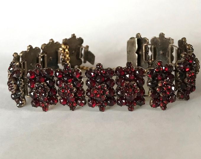 Bohemian Garnet Link Bracelet, Antique Garnet Bracelet, Garnet Bracelet
