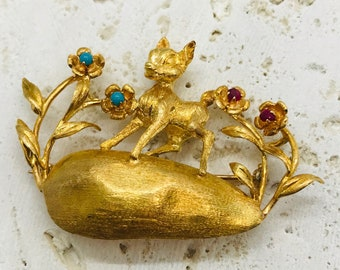 Vintage Yellow Gold Ruby and Turquoise Bambi Pin, Deer Pin, Fawn Brooch, Deer with Flowers Pin/Brooch