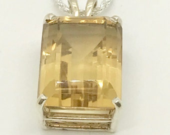 Vintage Sterling Silver Citrine Pendant, Citrine Necklace, Sterling Silver Necklace, Emerald Cut Citrine