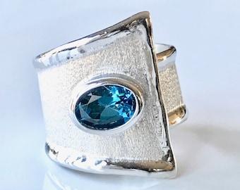Handmade Sterling Silver Blue Topaz Buckle Design Ring, Wide Sterling Silver Blue Topaz Ring