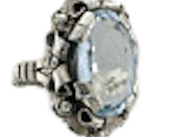 Ladies Sterling Silver Blue Topaz Ring with Floral Motif