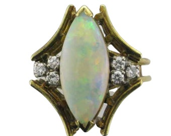 14 Karat Yellow Gold Opal and Diamond Ring with Angular Design, Opal and Diamond Ring, Vintage Opal and Diamond Ring