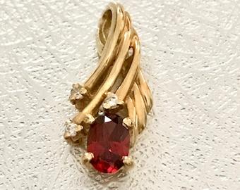 Yellow Gold Garnet and Diamond Pendant, 14 Karat Yellow Gold Pendant, Vintage Pendant, Vintage Garnet Pendant