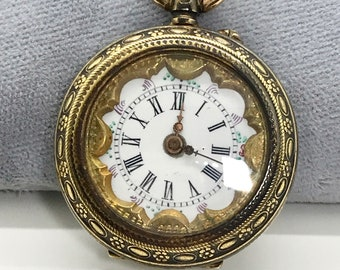 Silver Non Working Open Face Pocket Watch, Pocket Watch with Decorated Dial, SteamPunk Watch, Watch Necklace, Silver Pocket Watch