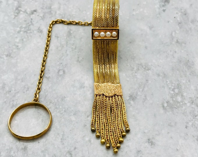 Yellow Gold Victorian Handkerchief Holder, Handkerchief Holder with Pearls and Tassel, Antique Handkerchief Holder with Ring