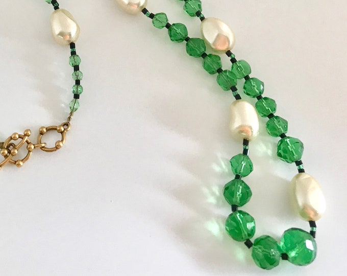 Vintage Hand Crafted Glass Bead Necklace, Faux Pearls, Green and Black Bead Necklace, Long Fashion Necklace