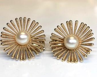 Vintage Pierced Pearl Earrings, Gold Sunburst Pearl Earrings, Pearl Earrings, Pierced Pearl Earrings, Statement Earrings