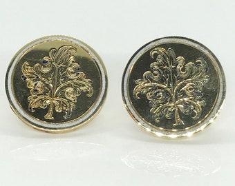 Yellow Gold Engraved and Enameled Antique Earrings, Earrings Converted From Cufflinks, Hallmarked Earrings, Pierced Earrings