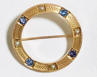 Yellow Gold Circle Pin, Circle Pin with Blue Sapphires and Pearls, Antique Circle Pin, Circle Brooch, Blue Sapphire and Pearl Brooch
