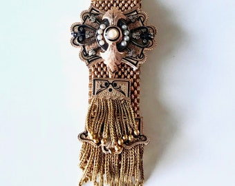 "Yellow Gold Victorian ""Cuff"" Bracelet, Mesh Bracelet with Foxtail Tassel, Black Enamel and Pearl Bracelet, Grand Period Jewelry"