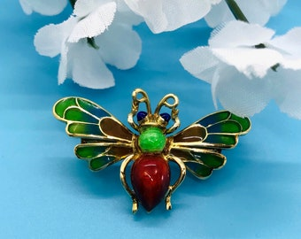 Yellow Gold Enamel and Plique-a-Jour Bee Pin, Bee Brooch, Vintage Bee Pin