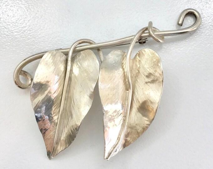 Large Sterling Silver Leaf Pin, Vintage Leaf Pin, Pin, Sterling Silver Brooch, Leaf Brooch