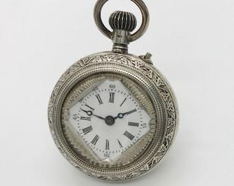 Vintage Silver Open Faced Pocket Watch, Non Working Silver Pocket Watch, Pocket Watch Pendant, Vintage Pocket Watch Pendant