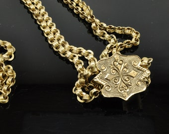 Victorian Watch Chain and Slide, Yellow Gold Watch Chain, Slide, Watch Chain and Slide, Antique Watch Chain