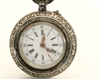 Silver Non Working Open Faced Pocket Watch, Vintage Pocket Watch, Pocket Watch Pendant. Silver Pocket Watch