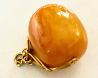 Yellow Gold Amber Watch Fob, Amber, Antique Fob, Large Amber Antique Watch Fob