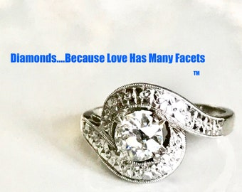 Diamond Engagement Ring, Cocktail Ring, Right Hand Ring, Circa 1950's, Old European Cut Diamond Ring, 1/2 Carat Diamond
