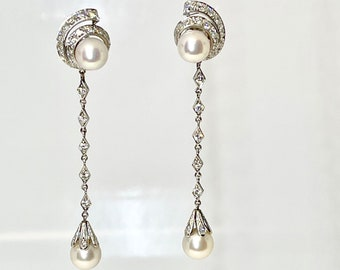 Vintage 14 Karat White Gold Diamond and Pearl Dangle Earrings, Pearl and Diamond Drop Earrings, Pierced Diamond and Cultured Pearl Earrings