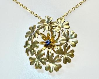 Vintage Floral Pendant, Gold Tone Floral Pendant, Floral Pendant with Blue Transparent Stone, Floral Bouquet Pendant