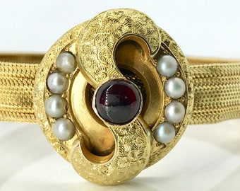 Yellow Gold Hand Engraved Garnet and Pearl Slide Bracelet, Mid Victorian Bracelet, Antique Garnet and Pearl Mesh Bracelet, Mesh Bracelet