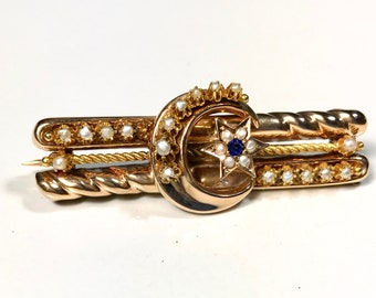 Yellow Gold Crescent Moon and Star Pin, Victorian Pin, Crescent Moon and Star Sapphire and Pearl Pin