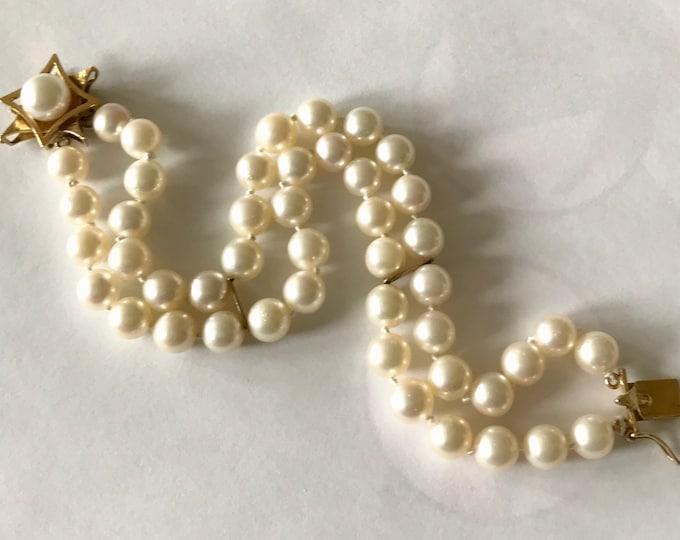 Double Strand Cultured Pearl Bracelet, Vintage Pearl Bracelet, June Birthstone
