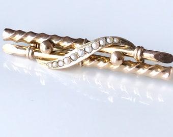 Yellow Gold Seed Pearl Bar Pin, English Bar Pin, Pearl Pin, Brooch, Antique Pin
