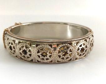 Vintage Gold and White Tone Bangle Bracelet, Three Dimensional  Hinged Bangle Bracelet, Bracelet with Cut Out Design, Star Design