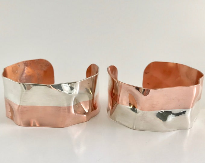 Two Copper and Sterling Cuff Bracelets, Vintage Cuff Bracelet, Bracelet, Copper Bracelet, Sterling Silver Bracelet