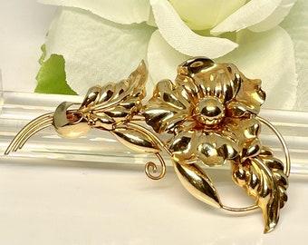 Retro Yellow Gold Flower Pin, Stylized Flower Pin, Vintage Flower Pin, Hallmarked Brooch, Retro Brooch, Retro Flower Brooch