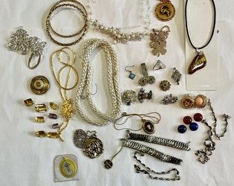 Odd Lot of Jewelry, Loose Amethyst, Loose Citrine, Vintage Jewelry, Necklace, Vintage Necklace