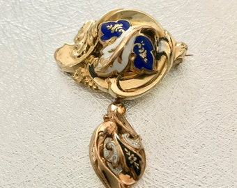 Victorian Rolled Gold Plate Pin, Victorian Enamel Pin, Antique Pin with Dangle Accent, Antique Brooch