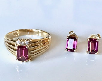 Vintage Rhodolite Garnet Ring and Earring Set, Garnet Ring, Garnet Earrings, January Birthstone, Ring and Earring Set