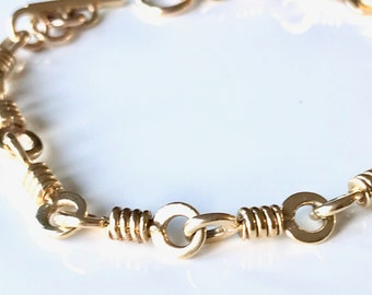Yellow Gold Chain Link Bracelet, Antique Chain Bracelet, 18 Karat Yellow Gold Bracelet, Antique Bracelet