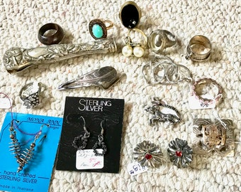 Collection of Odds and Ends, Bits and Pieces of Jewelry, Recycle Jewelry, Pin, Earrings, Rings, Puzzle Ring, C.Z. Ring