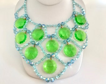 "1960's Lucite ""crystal"" Bib Necklace, Mod Necklace, Vintage Costume Necklace, Blue and Green Necklace"