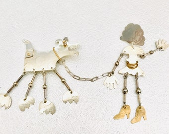 Signed Sterling Silver and Brass Girl Walking Her Dog Pin, Dog Lovers Pin, Signed Hood, Pin in Motion