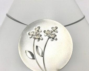 Sterling Silver Designer Pendant, Designer Floral Pendant, Kelim Jewelry Design Necklace, Round Floral Pendant